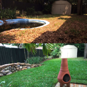 Residential back yard sod installation before after